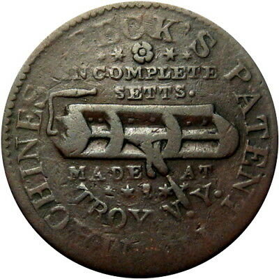 1835 Troy New York Hard Times Token Peck's Patent Tin Machines HT-363 Low 271