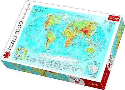 Trefl 1000 Piece Adult Large Physical Map Of The World Jigsaw Puzzle NEW