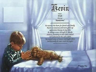 """Praying Boy"" Personalized Name Meaning Religious 8.5"" x 11"" Ready to Frame Gift"