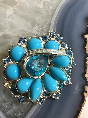 Vintage Brooch Pin Gold Metal Costume Jewelry Robins Egg Blue  Faux Stone