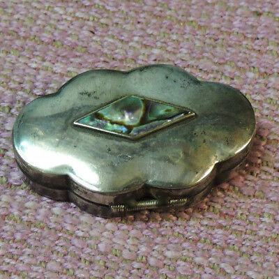 Vtg Sterling Silver 925 Signed CMP Pill Box Trinket Box w/ Abalone Shell Accent