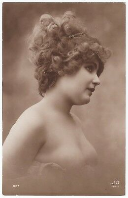1910 Original French RPPC Nude Voluptuous Girl Beauty Lingerie Jean Agelou