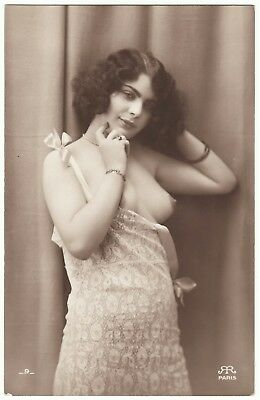1910 Original French RPPC Nude  Girl Beauty Lingerie Stockings Jean Agelou