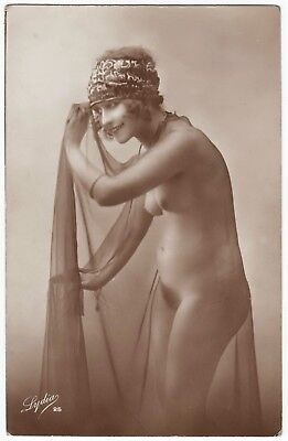 1910 Original French Real Photo PC Nude Girl Attractive Delicate Veiled Beauty
