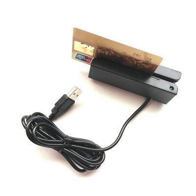 USB 3-Track Magnetic Credit Card Reader Mini Magstripe Swipe Magstripe Portable
