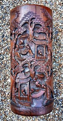 Large Antique Qing Period Chinese Carved Bamboo Bitong Brush Pot 310 Mm. Tall
