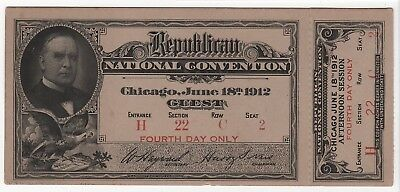 1912 Republican National Convention Full ticket w/stub William H. Taft 4th day