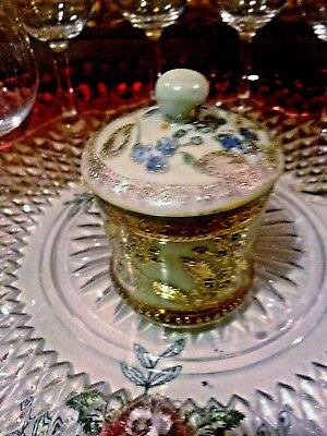 "IE&C Co Antique HEAVY GOLD Moriage - Small Mustard Jar - 1885 NIPPON 3.25""T"