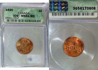 1920 Canada One Cent ,small ,RED Scarce Graded by ICG MS 64