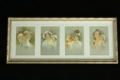 Beautiful Professionally Framed 4 - Antique Belgian Mother & Child Prints