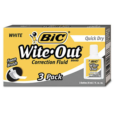 BIC Wite-Out Quick Dry Correction Fluid, 20 ml Bottle, White, 3/Pk