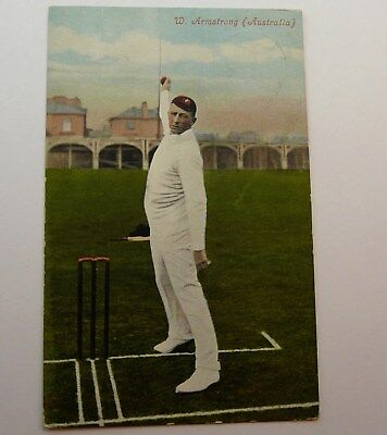 ORIGINAL c1907 PRINTED CRICKET POSTCARD OF W ARMSTRONG AUSTRALIA N/Z STAMP