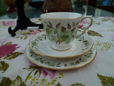Vintage Colclough English China Trio Tea Cup Saucer Plate Green Floral 8648