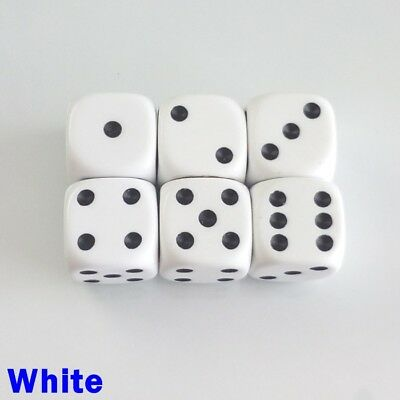 Opaque Dice Spot Spotted 6x 16mm D6 White Board Game Table Top Yahtzee Perudo