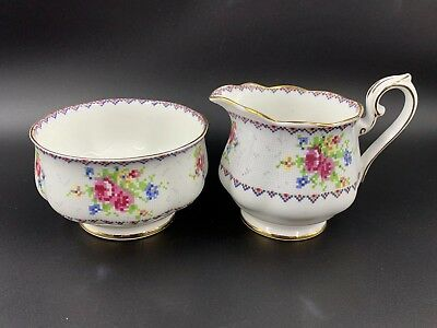 Royal Albert Petit Point Large Creamer Sugar Bowl Set Bone China England