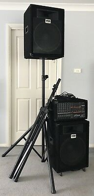 Pa System: Yamaha Emx640 Powered Mixer, Speakers, Stands & Cables