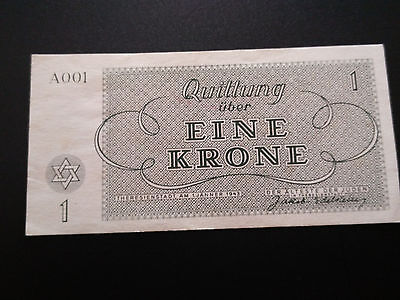 !!! 1943 Wwii 1Krone A 001 Series Theresienstadt Ghetto Concentration Camp