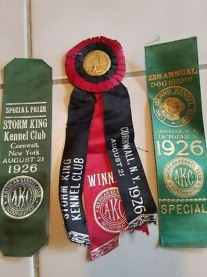 1926 AKC & STORM KING dog show award ribbons BROOKLYN & CORNWALL NY