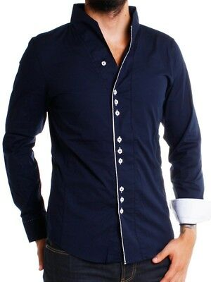 Carisma Party Men's Shirt Long Sleeve Stand Up Collar Slim h-902-b Navy Blue