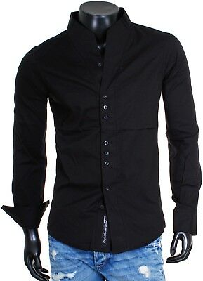 Carisma Party Men's Shirt Long Sleeve Stand up Collar Slim Fit H-902 Black