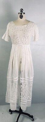 IV- Antique Edwardian Sheer White Lace Cotton Batiste Day Dress XS/S