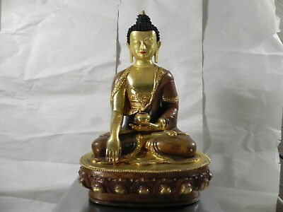 "Earth Touching BUDDHA 13.5"" Vintage/Antique?  Bronze/Brass/Copper/Gold Heavy"