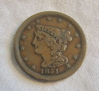 Early Us Coin 1851 (1/2) One Half Cent Liberty Head