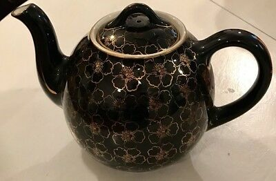 Vintage Hall USA Teapot Large 12 Cup Black 22k Gold French Flowers 18 free ship