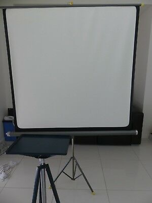 Vintage screen and stand for projector metal roll up