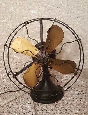 Vintage Working General Electric GE Brass Blade Cage Fan