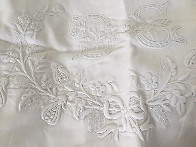 France (1) Standard Sham French Embroidery 100% Linen Handmade Rare Unique DC