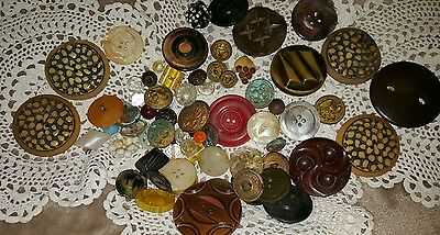 Lot of Antique & Vintage Buttons- Lg, Sm, Plastic, Resin, Stone, Metal & More