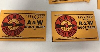 2 Vintage 1940's Ticket Good for free A & W Root Beer