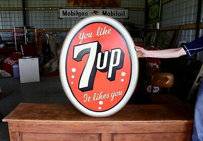 Original 1950's Oval 7up Metal Soda Pop Advertising sign Gas Oil Nice Nos!