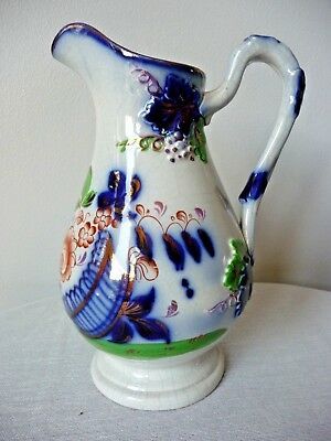 Rare 19th C James Deakin Pearl Ware Flow Blue Gaudy Welsh Floral Pattern Copper