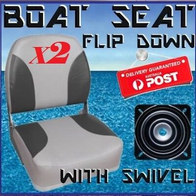 2 x Flip Up Padded Boat Seat with Swivel Quintrex Replacement Runabout Seats NEW