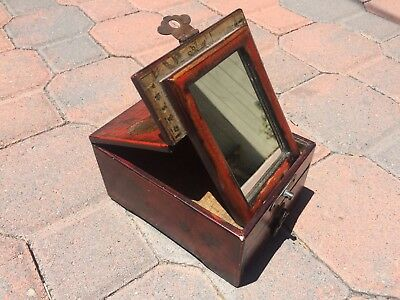 Antique /Vintage Lacquer wood Chinese Cosmetic folding Mirror Jewelry Vanity box
