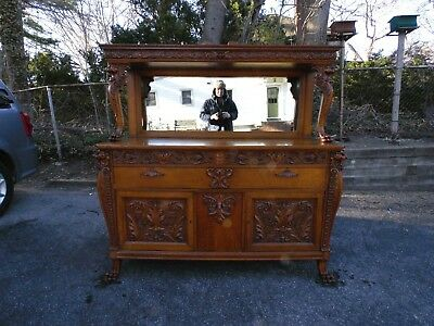 Victorian BUFFET CREDENZA American Oak 1890's CARVED LIONS & PAWFEET Horner ?