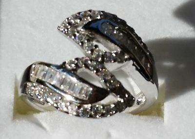 Sterling Silver with Cubic Zirconia Wrap-Around Ring - Size 7