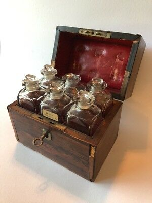 Antique Rosewood Scent Perfume Casket Cut Glass Bottles Leather Lining 19th C.