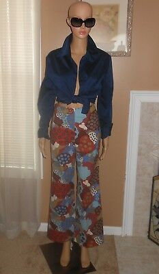 Vintage 60s Abstract Bandless Waist Mod Disco Cotton Bell Bottom Pants XS