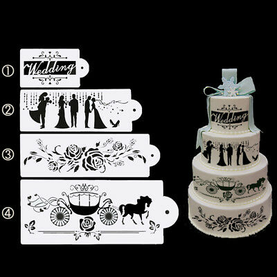 4X Love Cake Cookie Fondant Side Baking Stencil Wedding Decorating Mold Tool DIY
