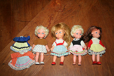 Vintage Playmates Small Dolls made in Hong Kong 3 + 1 Other Vintage Doll Vinyl