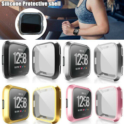 For Fitbit Versa Silicone Protective TPU Case Screen Protector Frame Cover HW