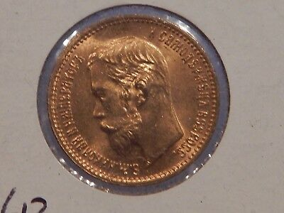 1902 Russian 5 Rouble Gold Coin  Nice Uncirculated Coin