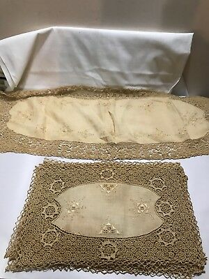 12 ANTIQUE, VINTAGE PLACEMATS, ITALIAN RETICELLA NEEDLE LACE, RUNNER, c1920