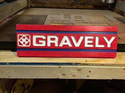 Wood carved gravely tractor sign