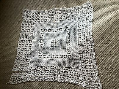 """VINTAGE HAND MADE  IVORY COTTON CROCHETED TABLECLOTH  32"""" x 32""""  #10"""