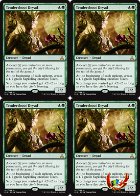 Mtg Rivals Of Ixalan Rix English Tendershoot Dryad X4 Mint Card