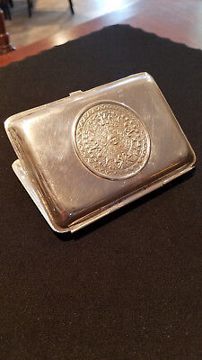 Aztec Mexican Sterling silver vintage cigarette case LATON small dents
